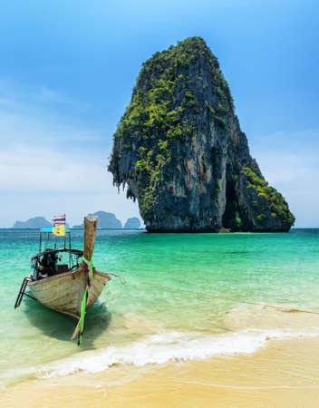 nang: Boats on Phra Nang beach, Thailand. Stock Photo