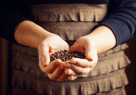 Senior woman holding coffee beans. photo