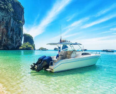 phra nang: Boats on Phra Nang beach, Thailand. Stock Photo