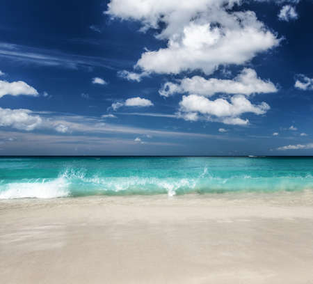 Beautiful tropical beach and blue sky. photo