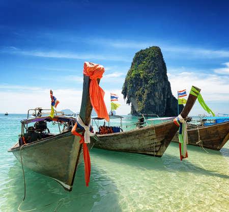 phra nang: Thai boats on Phra Nang beach, Thailand