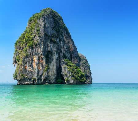 phra nang: Clear water and blue sky  Phra Nang beach, Thailand  Stock Photo