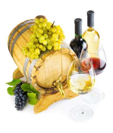 aligote: Red and white wine on white background  Stock Photo