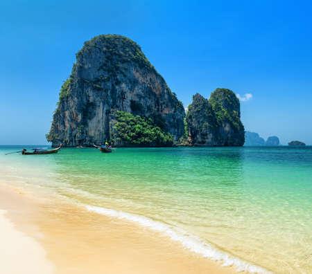 nang: Clear water and blue sky. Phra Nang beach, Thailand.