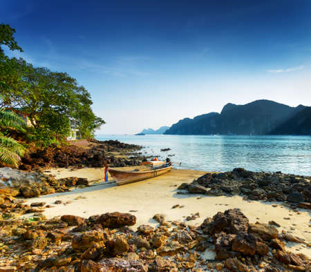 Tropical landscape. Beach of Phi Phi Island, Thailand.