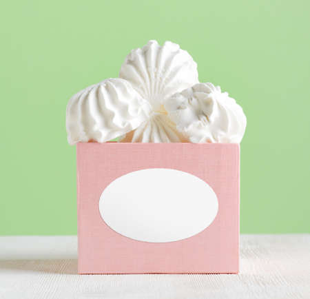 spongy: White marshmallow dessert in pink box. Stock Photo