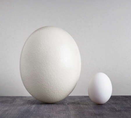 Ostrich egg and chicken egg on black table  photo
