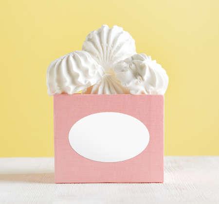 spongy: White marshmallow dessert in pink box