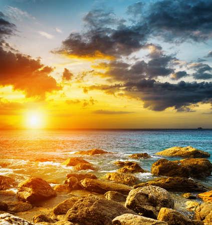 Amazing sky over the sea. Sunset landscape. Stock fotó