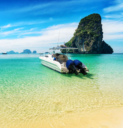 speed boat: Boats on Phra Nang beach, Thailand