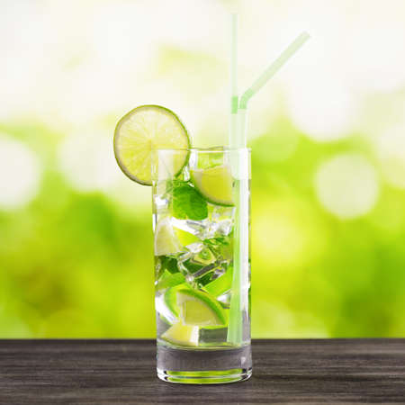 Mojito cocktail on nature background. Stock Photo