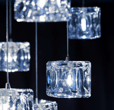 crystal chandelier: Closeup view of contemporary light fixture.