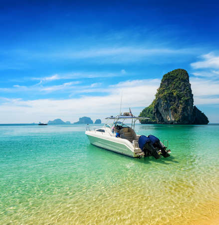 phra nang: Boats on Phra Nang beach, Thailand. Stock Photo