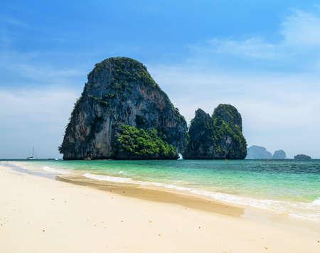 nang: Clear water and blue sky  Phra Nang beach, Thailand  Stock Photo