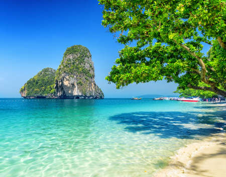 Clear water and blue sky  Phra Nang beach, Thailand  photo