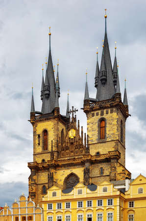 tyn: The Church of The Mother of God in front of Tyn in Prague, Czech Republic.