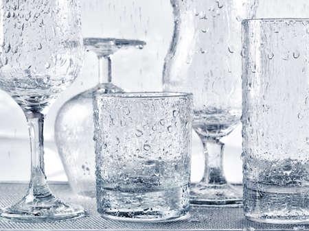 glassware: Glassware washing under water jets. Stock Photo
