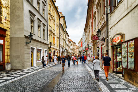 old town square: PRAGUE, CZECH REPUBLIC - AUGUST 11, 2014: View of Celetna street in Prague. The Old Town is famous destination in Prague.