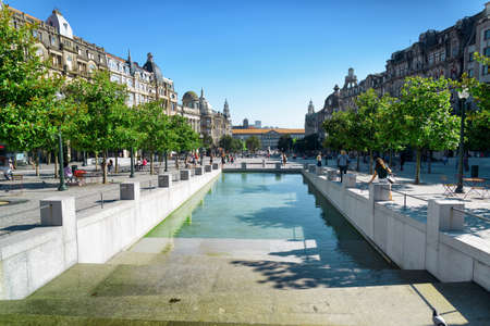 tourist destinations: An artificial reservoir on the Avenue of the Allies (Avenida dos Aliados) in Porto, Portugal. Porto is one of the most popular tourist destinations in Europe.