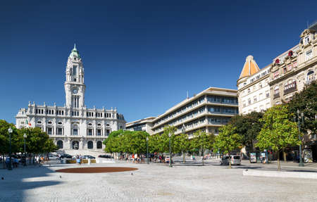 allies: The view of the City Hall and the Avenue of the Allies (Avenida dos Aliados) in Porto, Portugal. Porto is one of the most popular tourist destinations in Europe.