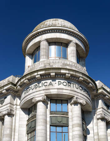allies: The facade of building on the Avenue of the Allies (Avenida dos Aliados) in Porto, Portugal. Porto is one of the most popular tourist destinations in Europe.