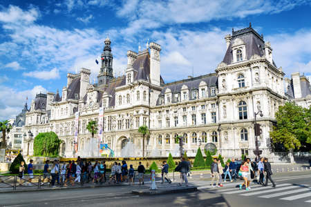 municipality: PARIS, FRANCE - AUGUST 12, 2014: The City Hall in Paris. The area of Paris, where several centuries ago were carried public executions. It is one of the most popular tourist destinations in Europe.