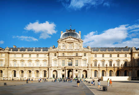 sully: PARIS, FRANCE - AUGUST 13, 2014: The view of the Wing Sully of the Louvre. This is the oldest part of the Louvre Museum in Paris. Paris is one of the most popular tourist destinations in Europe. Editorial