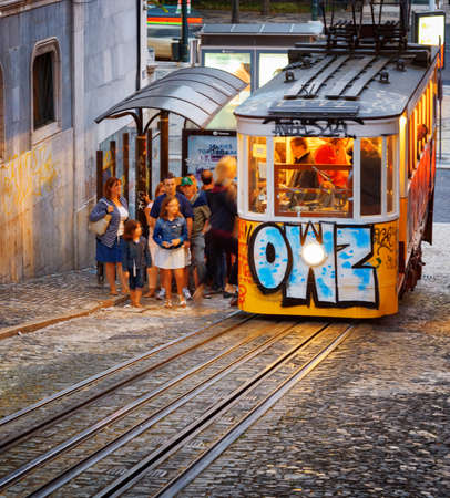 designated: LISBON, PORTUGAL - AUGUST 15, 2014: The Gloria Funicular in Lisbon. In 2002 it was designated a National Monument in Portugal. It is a popular tourist attraction of Europe.