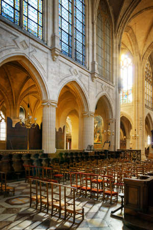 The Gothic Arches And Space For Parishioners In Catholic Church Of Saint Germain Auxerre