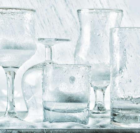 jets: Glassware washing under water jets. Stock Photo