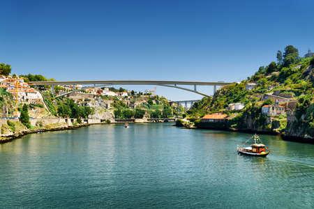tourist destinations: The Douro River in Porto, Portugal. Porto is one of the most popular tourist destinations in Europe. Stock Photo