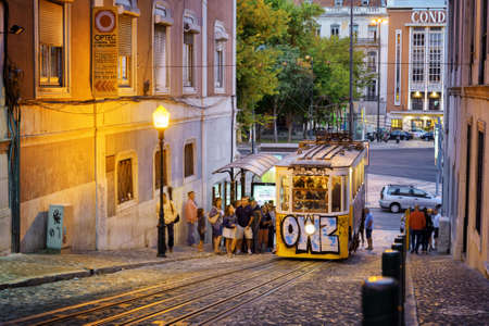 gloria: LISBON, PORTUGAL - AUGUST 15, 2014: The Gloria Funicular in Lisbon. In 2002 it was designated a National Monument in Portugal. It is a popular tourist attraction of Europe.