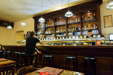 tourist destinations: Bar in the Prague beer museum. Prague is the Capital city of beer and pubs. Czech Republic is a one of the most popular tourist destinations in Europe.