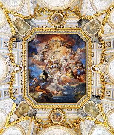 ceiling: MADRID, SPAIN - AUGUST 18, 2014: The fresco Corrado Giaquinto «Spain Pays Homage to Religion and to the Church» on the vaulted ceiling in the Royal Palace of Madrid. It is popular tourist attraction.