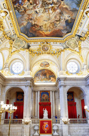 homage: MADRID, SPAIN - AUGUST 18, 2014: Moldings and the fresco Corrado Giaquinto «Spain Pays Homage to Religion and to the Church» in the Royal Palace of Madrid. It is popular tourist attraction.