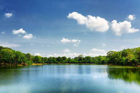 pond: Beautiful lake nestled among rainforest in Cambodia under blue sky with white clouds. Cambodia is a popular tourist destination of Asia.