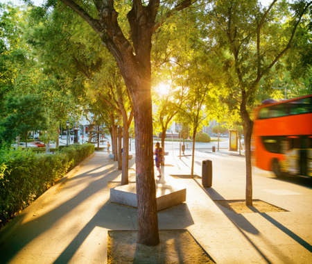 walkway: Street of Madrid in rays of evening sun. Beautiful view of Calle de Felipe IV in summer time. Madrid, Spain. Madrid is a popular tourist destination of Europe.