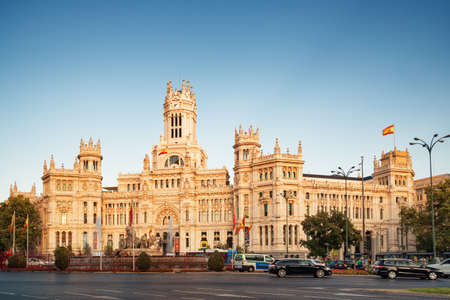cibeles: MADRID, SPAIN - AUGUST 20, 2014: Main view of the Cybele Palace (Palacio de Cibeles) or the Palace of Communication in Madrid, Spain. Madrid is a popular tourist destination of Europe.