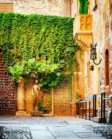 romeo and juliet: Courtyard of Casa di Giulietta (House of Juliet or House of Cappelletti) in Verona, Italy. Verona is a popular tourist destination of Europe. Stock Photo