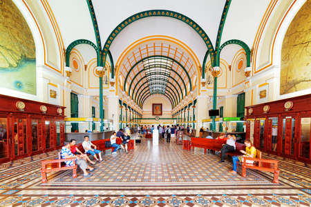 post: HO CHI MINH, VIETNAM - MAY 7, 2015: Interior of Saigon Central Post Office. Steel structure of building was designed by Gustave Eiffel. Ho Chi Minh is a popular tourist destination of Asia.