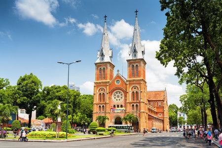 HO CHI MINH, VIETNAM - APRIL 30, 2015: Saigon Notre-Dame Cathedral Basilica on blue sky background in Ho Chi Minh city, Vietnam. Ho Chi Minh is a popular tourist destination of Asia. Éditoriale