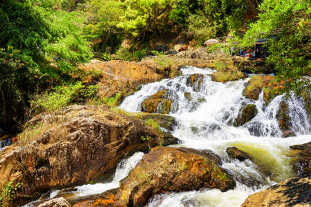 dalat: Beautiful cascade of the Datanla waterfall in Da Lat city (Dalat), Vietnam. Da Lat and the surrounding area is a popular tourist destination of Asia.