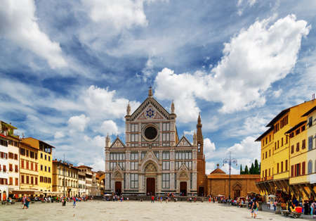 basilica: View of the Basilica di Santa Croce (Basilica of the Holy Cross) on square of the same name in Florence, Tuscany, Italy. Florence is a popular tourist destination of Europe.