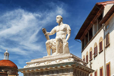The statue of Giovanni dalle Bande Nere (Ludovico di Giovanni de Medici) on the Piazza di San Lorenzo at historic center of Florence, Italy. Florence is a popular tourist destination of Europe.