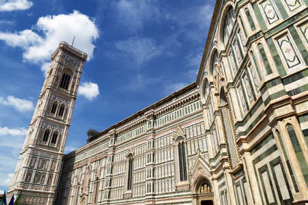saint mary: The Giottos Campanile bell tower of the Cathedral of Saint Mary of the Flower Florence Cathedral at historic center of Florence, Tuscany, Italy. Florence is a popular tourist destination of Europe Stock Photo