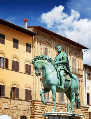 medici: Bronze equestrian statue of Cosimo I de Medici the Grand Duke of Tuscany on the Piazza della Signoria in Florence, Tuscany, Italy. Florence is a popular tourist destination of Europe. Stock Photo