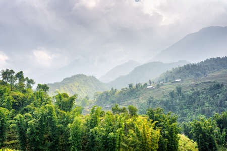 destination scenic: Scenic view of woods at highlands of Sapa District, Lao Cai Province, Vietnam. Cloudy sky and the Hoang Lien Mountains are visible in background. Sa Pa is a popular tourist destination of Asia. Stock Photo