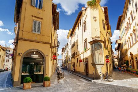 via: FLORENCE, ITALY - AUGUST 25, 2014: Crossroad of the Via della Spada, the Via del Sole and the Via delle Belle Donne in Florence, Tuscany, Italy. Florence is a popular tourist destination of Europe.