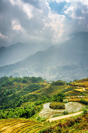 lien: Sunlit rice terraces at highlands of Sapa District, Lao Cai Province, Vietnam. Rays of sunlight through clouds in the Hoang Lien Mountains are visible in background.
