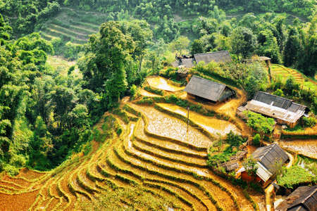 lien: Scenic view of rice terraces filled with water and village houses among woods in the Hoang Lien Mountains of Sapa District, Lao Cai Province, Vietnam. Sa Pa is a popular tourist destination of Asia. Stock Photo